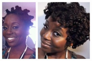 The Bantu knots are on the left-hand side. I untwist them, and voila! Look at how my curls POP in the picture on the right.